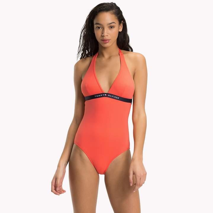 Halter Neck Logo Swimsuit