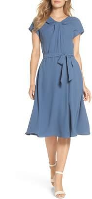 Gal Meets Glam Vivian Twist Neck Fit & Flare Dress