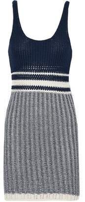 Splendid Ribbed Open-Knit Cotton Mini Dress