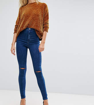 Asos Tall TALL RIVINGTON High Waist Denim Jeggings in Hazel Soft Acid Wash with Two Ripped Knees