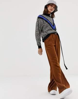 Pull&Bear wide leg pants in brown