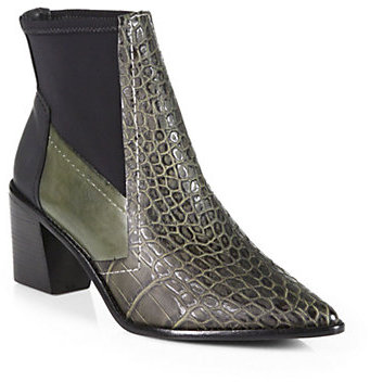 Spencer Crocodile-Embossed Leather Ankle Boots