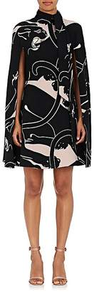 Valentino WOMEN'S PANTHER-PRINT SILK CAPE DRESS
