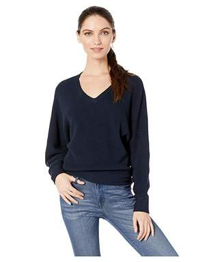 Michael Stars Lanie Cotton Knit Long Sleeve Dolman V-Neck Pullover Sweater