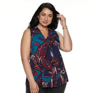 Dana Buchman Plus Size Pleated V-Neck Tank
