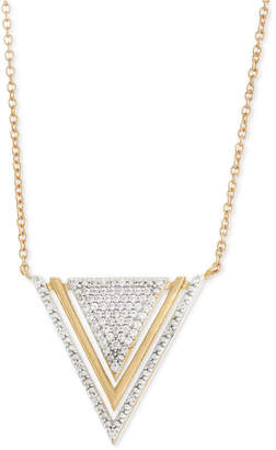 Wrapped Diamond Triangle Pendant Necklace (1/5 ct. t.w.) in 10k Gold