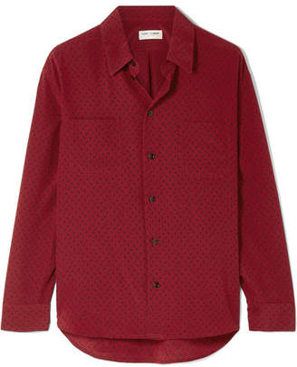 Saint Laurent Printed Silk Crepe De Chine Shirt - Claret