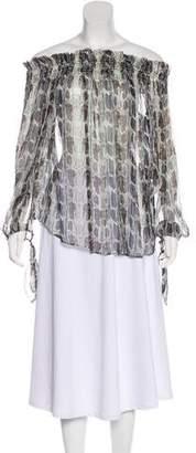 Caroline Constas Silk Metallic Printed Blouse