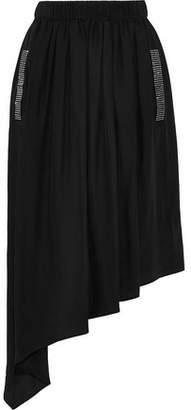 Christopher Kane Asymmetric Crystal-embellished Crepe De Chine Midi Skirt