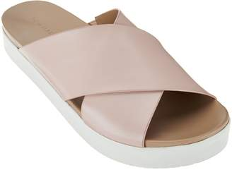 Halston H By H by Leather Criss- Cross Platform Sandals - Rosie