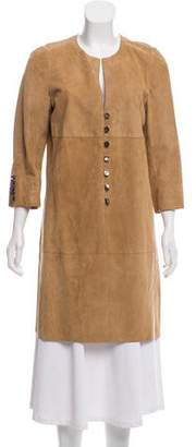 Rena Lange Suede Button-Up Coat