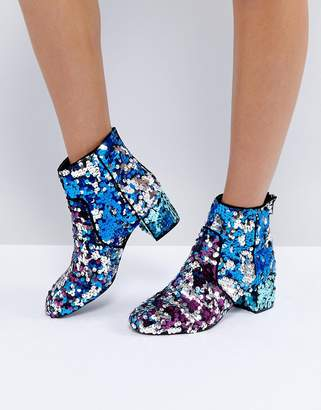 Asos Design RAINBOW Sequin Ankle Boots