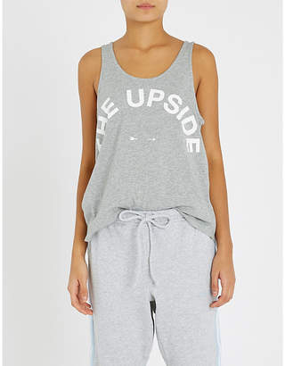 The Upside Womens Grey Marle Issy Logo-Print Cotton-Jersey Vest Top