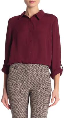 Adrianna Papell Long Sleeve Chiffon Button Down Blouse