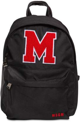 MSGM Logo Patch Nylon Canvas Backpack