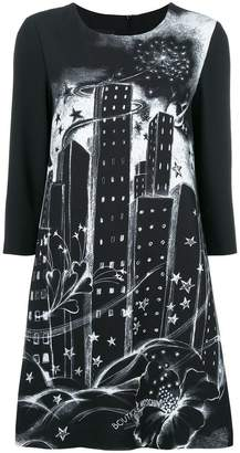 Moschino hand painted-look building print dress