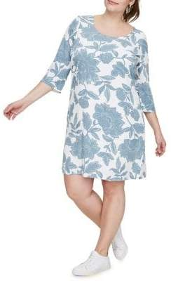 Junarose Plus Three Quarter Sleeve Printed Dress