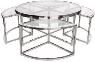 clear Darcy And Duke Sundance Nesting Coffee Table 5 Piece Silver With Glass