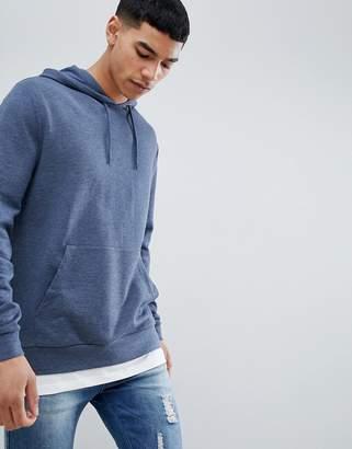 Asos DESIGN hoodie with hem extender in dark denim marl