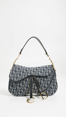 Christian Dior What Goes Around Comes Around Navy Canvas Double Saddle Bag