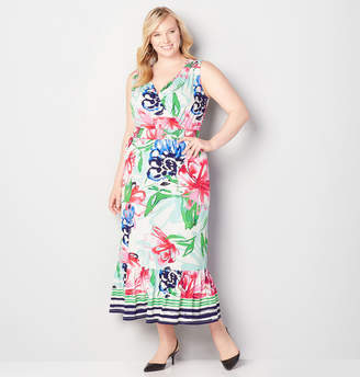 Avenue Floral Flounce Hem Maxi Dress