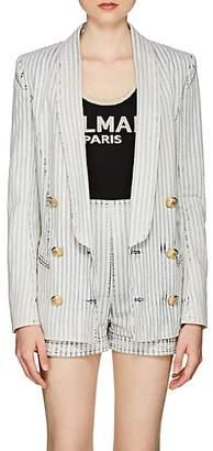 Balmain Women's Striped Denim Double-Breasted Blazer - White