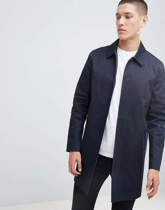 New Look single breasted cotton mac in navy