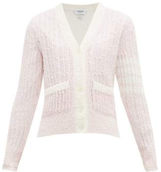 Thom Browne Open Knit Boucle Wool Blend Cardigan - Womens - Pink Multi