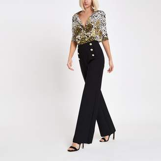 a03f236992 River Island Womens Black gold tone button wide leg trousers