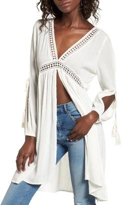 Women's Sun & Shadow Lace Trim Split Tunic $59 thestylecure.com
