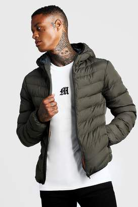 boohoo Quilted Zip Through Jacket With Hood