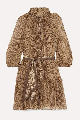 Zimmermann Espionage Pussy-bow Leopard-print Silk-georgette Mini Dress - Brown