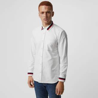 Burberry Knitted Detail Cotton Oxford Shirt , Size: M, White
