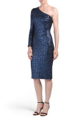 Made In Usa Chrissie One Shoulder Sequin Midi Dress