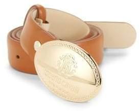 Roberto Cavalli Engraved Buckle Leather Belt