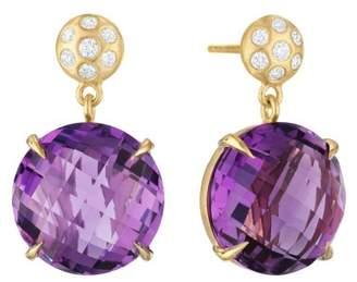 Amethyst and Diamond Post Drop Earrings