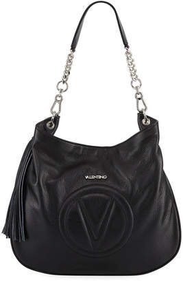Valentino By Mario Valentino Penelope Dollaro Leather Hobo Bag - Silvertone Hardware