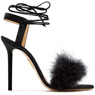 Charlotte Olympia Salsa Feather Embellished Suede Sandals - Womens - Black