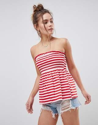 Asos DESIGN Shirred Cotton Bandeau Top in Red Stripe