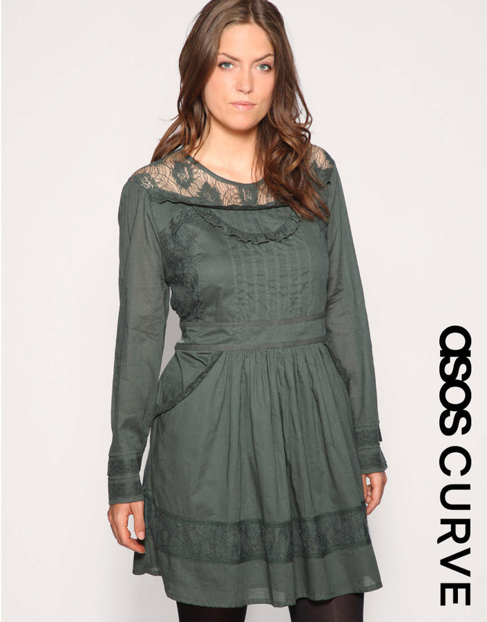 ASOS CURVE Cotton Crochet Trim Chick Dress