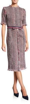 Rickie Freeman For Teri Jon Short-Sleeve Tweed Sheath Dress w/ Grommet Belt Trim