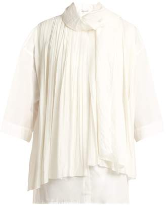 Lemaire Pleated silk and cotton foulard blouse