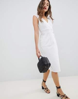 Asos Design Stripe Wrap Dress With D-Ring Detail