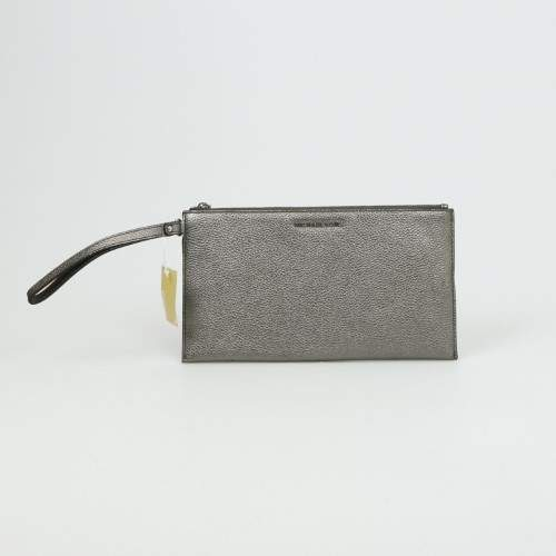 Michael Kors Mercer Large Zip Clutch Leather - SILVERS - STYLE