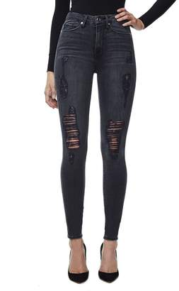 Good American Good Waist Black High Waisted Ripped Jeans