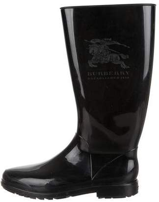 Burberry Logo Round-Toe Rain Boots