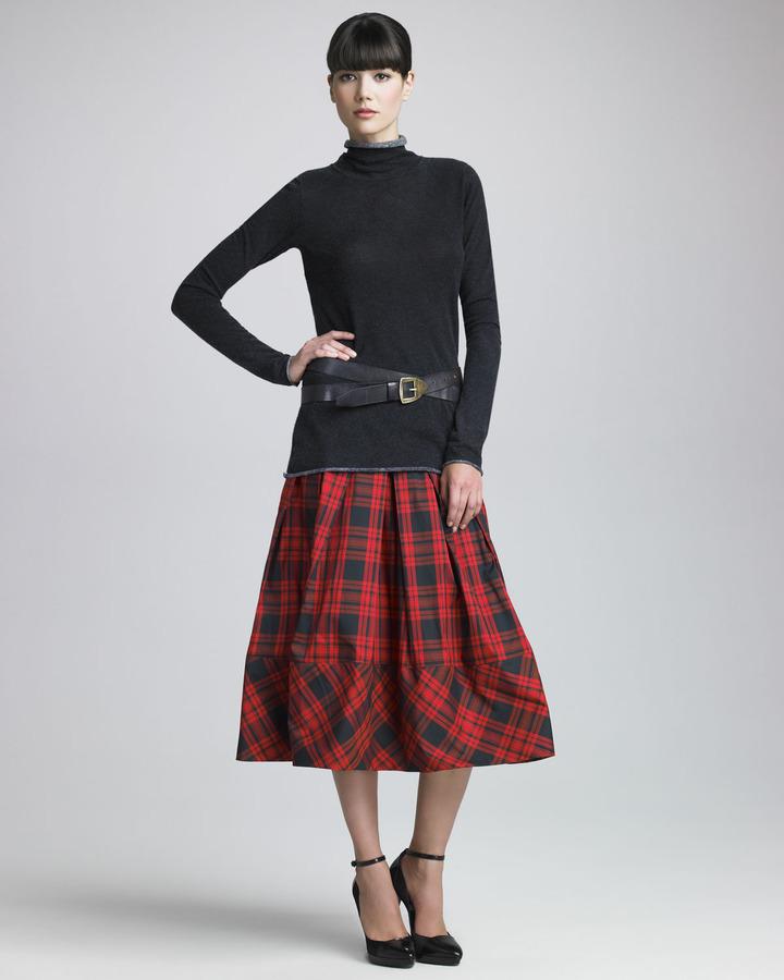 Donna Karan Plaid Taffeta Skirt