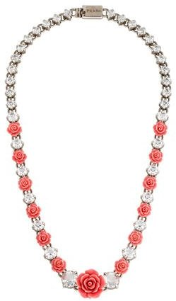 prada Prada Rose & Crystal Collar Necklace