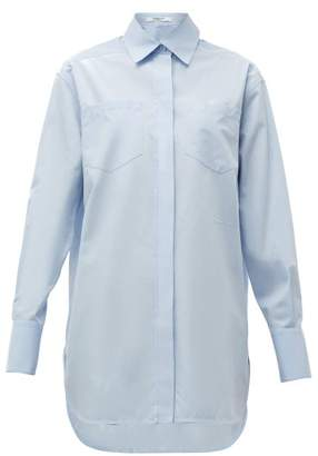 Givenchy Logo Embroidered Cotton Poplin Shirt - Womens - Light Blue