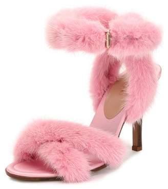 Valentino 95mm Mink Fur Ankle-Wrap Sandal